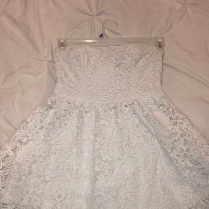 Strapless Lacy Floral White Dress